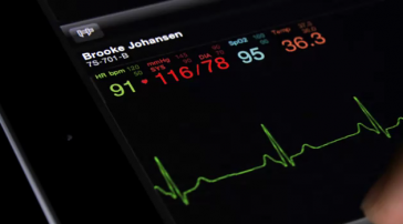 Apple iPad2 for use in healthcare: showing medical device data