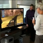 Patient with Parkinson's playing game