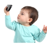 Baby watching a mobile phone