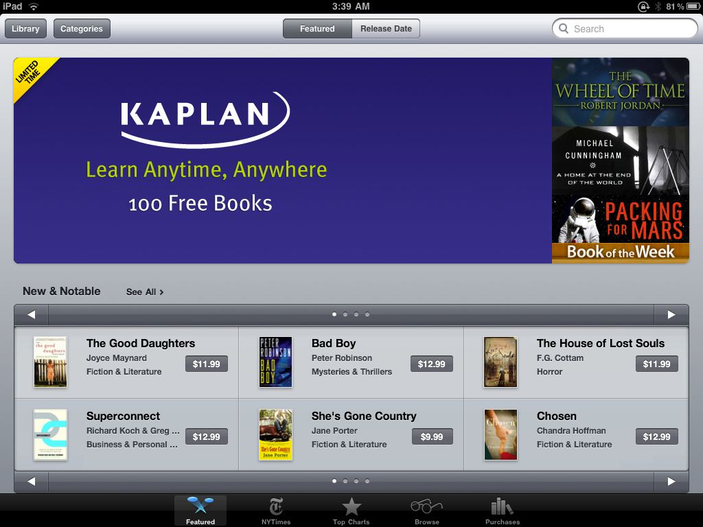 Kaplan offering 100 free e-books through Apple Bookstore for limited