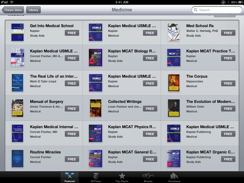 Kaplan offering 100 free e-books through Apple Bookstore for