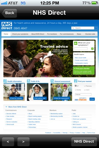 NHS Direct App enables UK residents to get 24/7 health