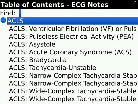 ECG Notes, a helpful cardiology medical app for the Blackberry