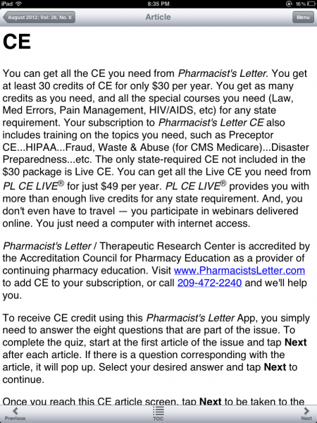 The Pharmacist Letter app is a great way to view monthly