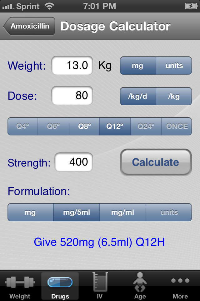 Medication doage calculator