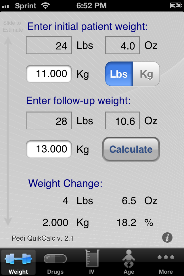 Pedi QuikCalc app is a quick and easy medical calculator ...