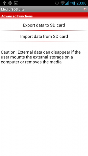 Import/Export data to SD