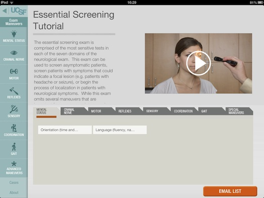 UCSF NeuroExam Tutor iPad and iPhone medical app review