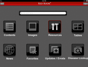 Review of Red Book app by Academy of Pediatrics for infectious disease
