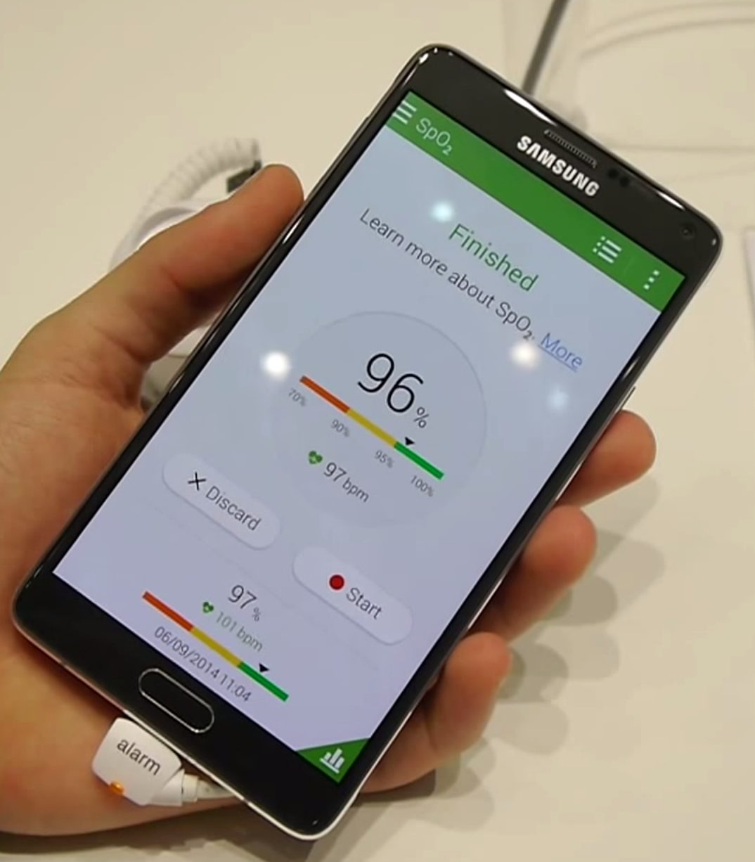 Galaxy Note 4 will measure your oxygen saturation, significant health implications
