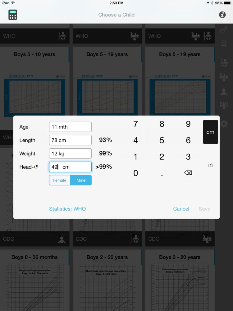 Review of Growth Chart app for iPhone & iPad