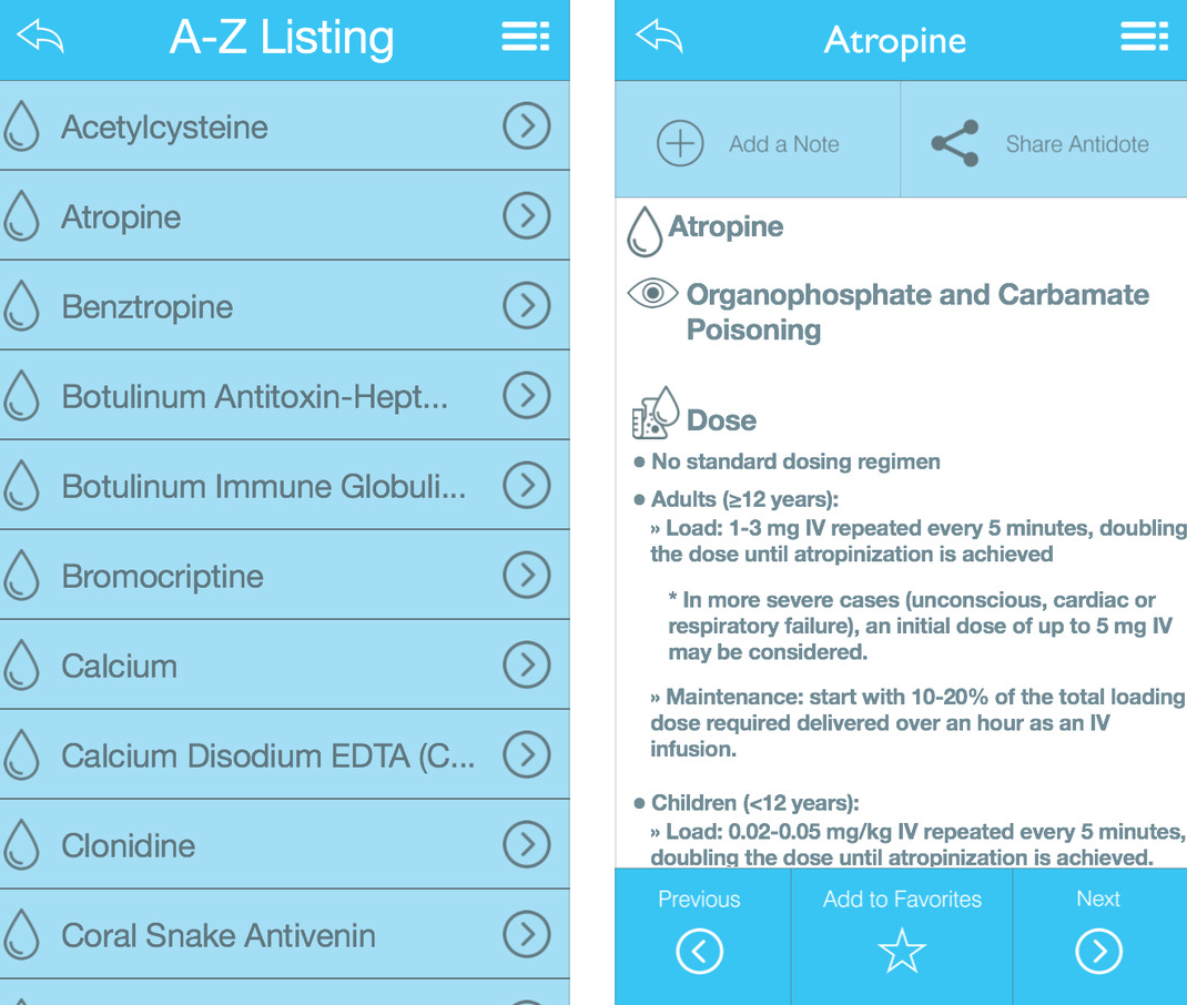 Free antidote app by American College of Emergency