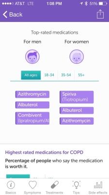 Iodine App Screenshot: Top COPD