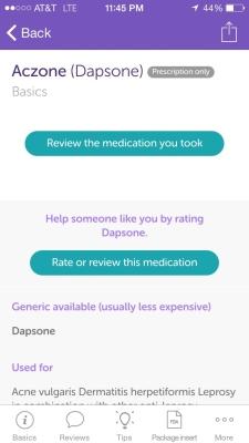 Iodine App Screenshot: Dapsone