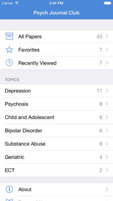 Psych Journal Club App Menu