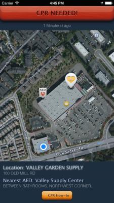 Location of Cardiac Arrest Smartphone Image