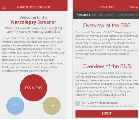 narcolepsy screener 1 app