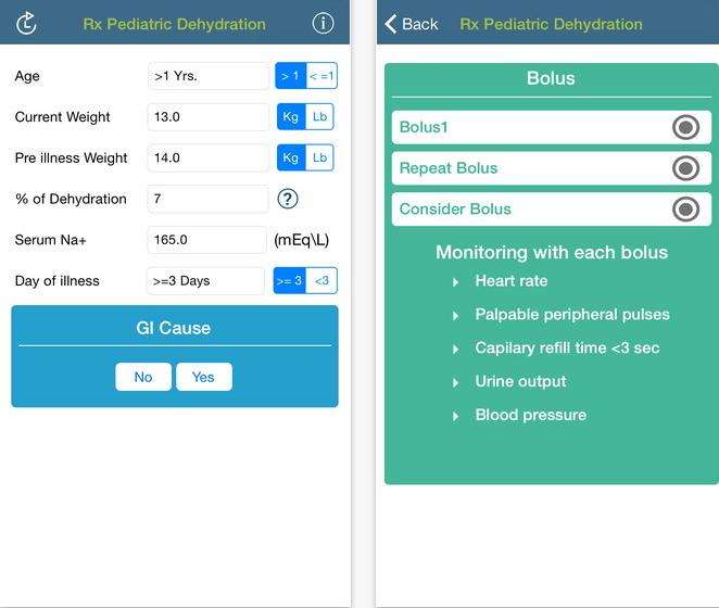 Review of pediatric fluid calculator app, Rx Pediatric Dehydration ...