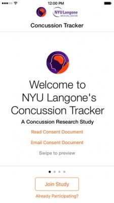 Concussion Tracker App home