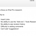 google docs ipad pro can't insert link