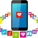 Smart phones and healthcare icon set