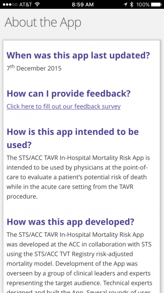 TAVR Risk medical app about