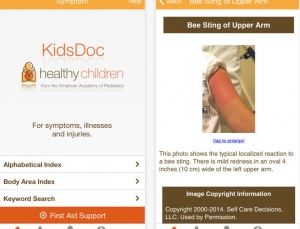 KidsDoc app is a useful resource you can recommend to parents with some caveats