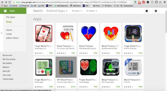 Blood Pressure App List