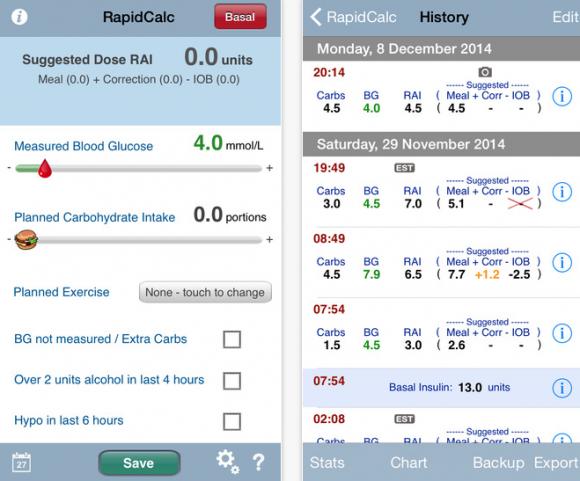 rapidcalc diabetes manager app