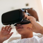 Arabian Boy Using VR Headset At Home